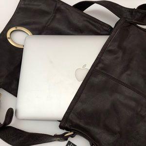 NWT Leather Laptop Bag Women's Soft Crossbody brwn